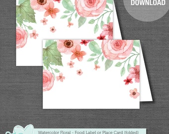Watercolor Floral Printable Food Tent Card, Food Label, Place Card, Bridal Shower Decor, Baby Shower Decor, Instant Download, 002A, 005A