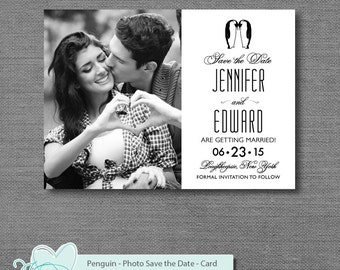 Penguin, Save the Date with Photo, Save Our Date, Printable, Wedding, Tyinging the Knot, Getting Married, Marriage, Card, Engaged, 2P