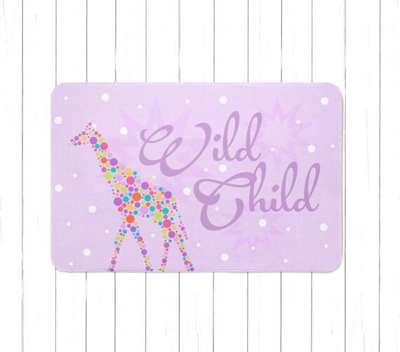 Purple Wild Child Giraffe Area Rug Or Bath Mat Minimalist