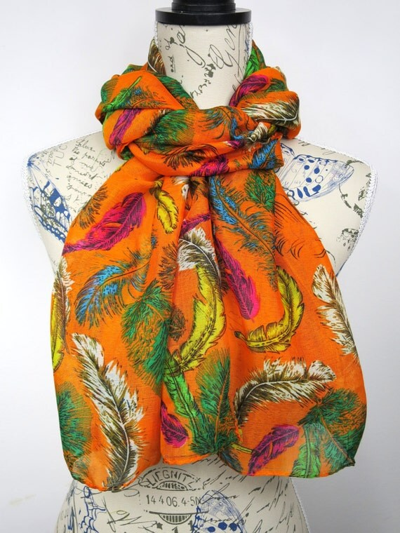 Feather Print Scarf - Fashion Tribal Scarf - Orange Fall Scarf - Printed Boho Scarf - Women Feather Scarf - Unique Printed Scarf - Gift Idea