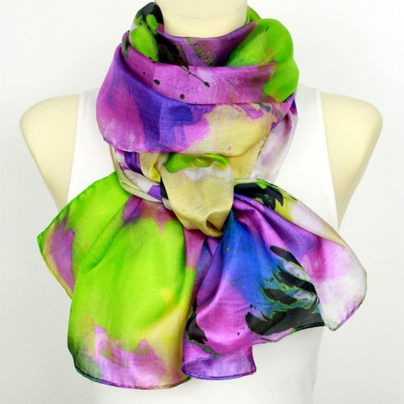 Natural Silk Scarf Colorful Silk Scarves Womens Scarves Unique Handmade Scarves Fashion Scarves Ladies Scarves Summer Outdoors Summer Party
