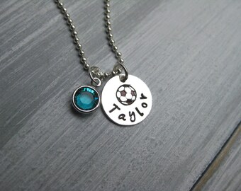 Soccer Necklace Soccer Jewelry Personalized Jewelry Sterling Silver Hand Stamped Soccer Player Gift Soccer Team Coach Gift Soccer Ball