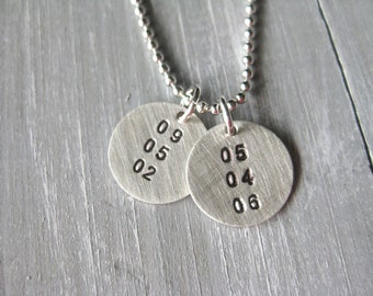 Birthdate Necklace Sterling Silver Anniversary Date Special Date Necklace Mothers Jewelry Hand Stamped Personalized Jewelry New Mom Gift