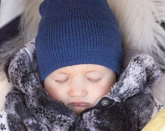 Kids knit hat, baby merino merino wool hat, boys hat, girls hat, kids winter hat, slouchy knit hat natural wool,