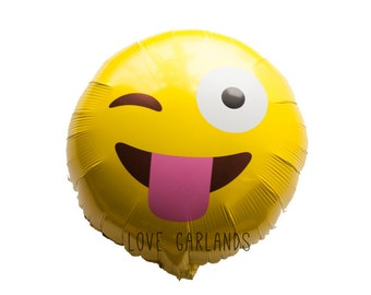 Emoji Balloon, Emoticon Balloon, Tongue Sticking Out Emoji Balloon, Silly Face Emoticon Balloon, Funny Foil Balloon, Photoshoot Prop