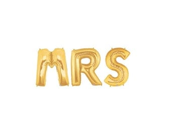 Mrs Letter Balloons, Mrs Balloon Banner, Bride to Be Balloons, Gold Engagement Balloons, Bachelorette Balloon Banner, Gold Letter Balloons