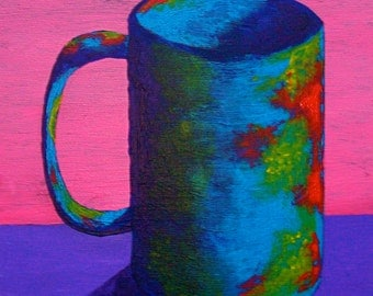 """The Morning Cup of Coffee (ORIGINAL ACRYLIC PAINTING) 8"""" x 10"""" by Mike Kraus"""