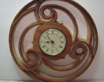 Swirl clock, 2 colored clock, Spanish cedar and maple clock, Wall clock, Retro clock