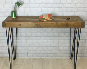 hairpin legs vintage industrial reclaimed rustic timber console hallway table