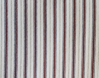 "LAST ONE 29"" Stripe Flannel Quilting fabric/white,Burgundy,Blue & Grey. 44"" Wide"