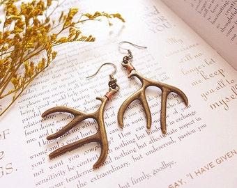 Deer Antler Earrings, Reindeer Antler Jewelry, Deer Earrings, Woodland Earrings, Large Statement Earrings, Boho Earrings, Bohemian Earrings