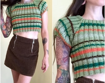 70s striped ribbed hand knit crop top