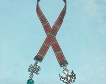 Outlander Sassenach Bookmark~Thistle Bookmark-Celtic Knot bookmark-Scottish plaid bookmark-Outlander Reader-Celtic-Irish-Scottish-green bead