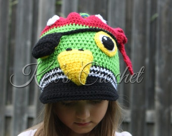 Parrot Hat,Pirate Hat,Crochet Pirate Hat,Pirate Parrot Hat,Crochet Hat,Kids Pirate Hat,Crochet Slouchy Hat,Parrot Crochet Hat,Pirate Parrot