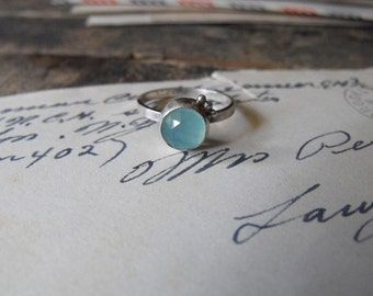 Aqua Chalcedony Ring Sterling Silver Gemstone Stacking Ring Blue Chalcedony Gemstone Ring