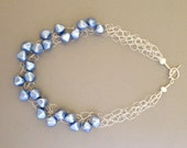 Wire Necklace Featuring Light Blue Vintage Faux Pearl Lucite Beads With Sterling Silver Clasp