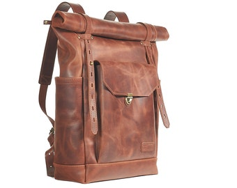 Brown leather backpack. Mens / Womens backpack. Hipster backpack. Brown leather rucksack.