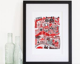 London Map Print, Abstract Art, Housewarming Gift, City Travel, Mid Century Retro, Destination Gift, Big City Wall Art, World Traveller Gift