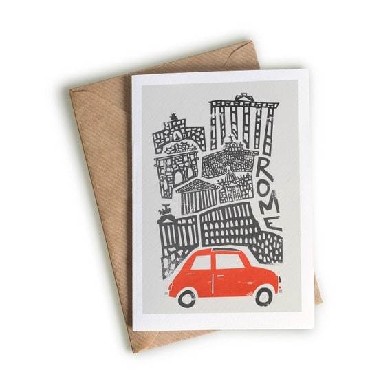 rome card a size blank greeting card red italian car, Birthday card