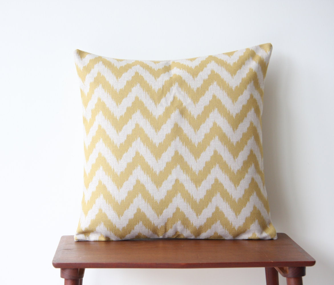 22 x 22 Decorative Pillow Cover Chevron Yellow by BeadandReel