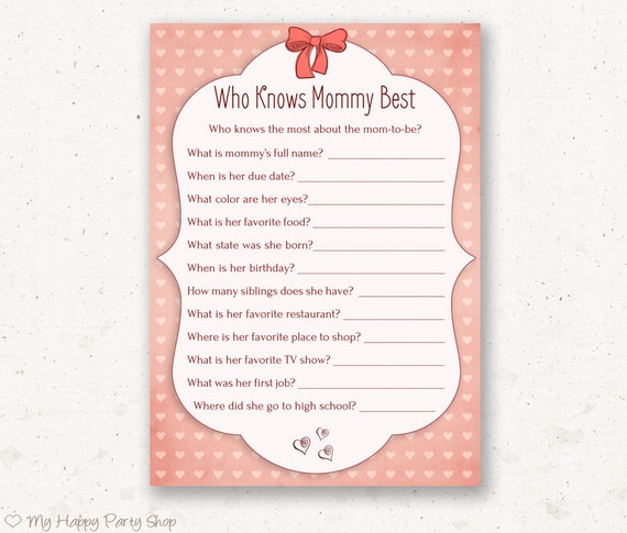 knows mommy best card - PRINTABLE, baby shower games, girl baby shower ...
