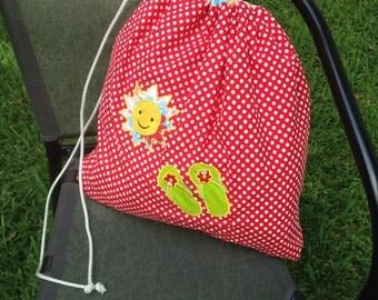 Monogrammed Drawstring Bag,Lined with Waterproof Fabric,Wet Bag,Personalized Bag,Eco Friendly Bag,Waterproof Bag, Beach Bag,Laundry bag