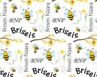 Personalized Baby Blanket, Bees Baby Blanket, Custom Bumble Bee Blanket, Bumble Bee Baby Shower Gift, Photo Prop, Sherpa Baby Blanket