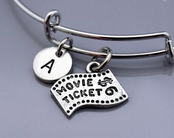Movie ticket charm bangle, Movie ticket stub charm bracelet, Movie theme, film ticket, Expandable bangle, Charm bangle, Initial bracelet