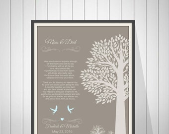 Wedding Thank You Gift for Parents from Bride and Groom Mother & Father In Law Gift  Wedding Gift from Couple - 43477K