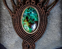 Chrysocolla Silver 925 Macrame Necklace. Statement Necklace. Boho Chic.Sexy. Wedding Gift. Woman Jewelry Healing Crystals. Throat Chakra.
