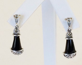 Sterling Silver Black Onyx And Marcasite Earrings
