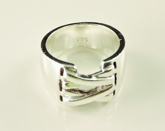 Size 6.5 Sterling Silver Laced Up Wide Band Ring