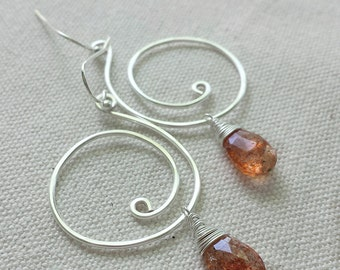 Sunstone Earrings, Sunstone Drop Earrings, Silver Swirl Earrings, Sunstone Gemstones, Sunstone Jewelry