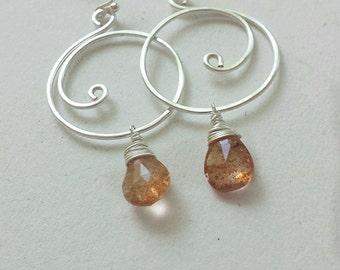 Sunstone Earrings, Sunstone Drop Earrings, Silver Swirl Earrings, Sunstone Gemstones, Sunstone Jewelry