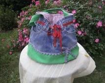 Denim Shoulderbag - Handmade Purse - Upcycled Tote Bag - Womens Purse - Jean Purse - BOho Bag - Recycled Handbag - Denim Tote