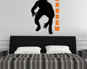 Wrestler Decal   Wrestler Wall Decal   Personalized Decal   Custom Vinyl  Decal   Wrestling Decal