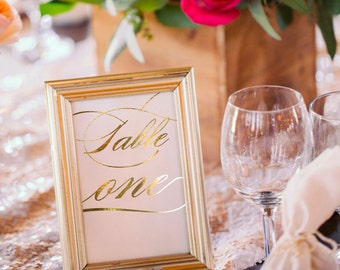 Gold Foil Table Numbers / Names Set - Personalised Gold Table Numbers / Names - Wedding Table Numbers with Gold Foil by Paper Charms TN119/1