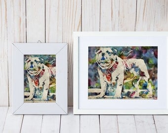 Mississippi State's mascot, Bully the bulldog watercolor print