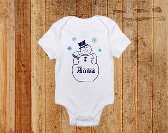 Winter Snowman Custom Baby Onesie and Toddler Short Sleeve Shirt