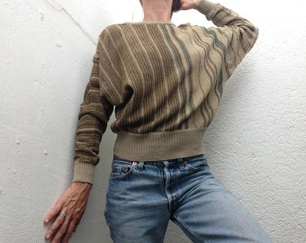 Gianni Versace   Vintage   1980s   Sweater   Stripes   Cotton knit   Beige/brown   Bat wing sleeves   Pullover