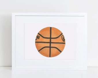 Basketball Decor - Basketball Wall Art - Basketball Watercolor - Basketball Gifts - Original Art Print