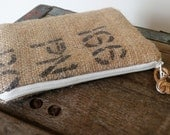 Custom burlap zipper pouches - wallet - gift - cosmetic - coin purse - makeup - repurposed burlap - bridesmaid - money pouch - canvas bag