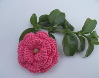 Flower brooch.Crochet brooch. Crochet. Jewelry. Corsage brooch .Rose brooch. Fluffy rose .Pink flower. Mother's day. Handmade flower .