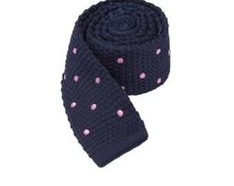 Mens Knit Tie.Knitted Tie with Pink Dot.Wedding Necktie.Groomsmen Tie.