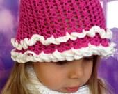 Crochet toddler hat/ Flower crochet hat/ Crochet baby hat/ Lace crochet hat/ Toddler girl fuchsia hat/ Girls flower hat/ Summer Cotton hat