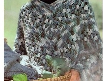CROCHET PONCHO PATTERN Crochet Shawl Pattern Vintage 70s Crochet Mexican Poncho Pattern Crochet Wrap