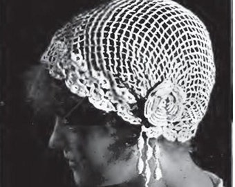 Crochet Pattern Vintage 40s Crochet Bridal Veil Pattern Crochet Wedding Veil Pattern Crochet Boudoir Pattern Cap Pattern