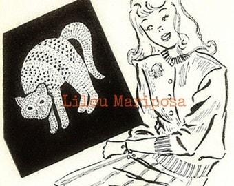 Crochet Cat Pattern Vintage 1918 Cat Ornament Crochet Cat Applique Pattern Crochet Halloween Pattern Halloween applique