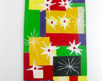Colorful canvas floorcloth, floor rug - 40 x 25 inches. reds and yellows, greens and black.