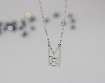 2 Initials Jewelry, Customized Initial Necklace, Single Initial Necklace, Initials and Monograms, Silver Initial Necklace, Gold Initials